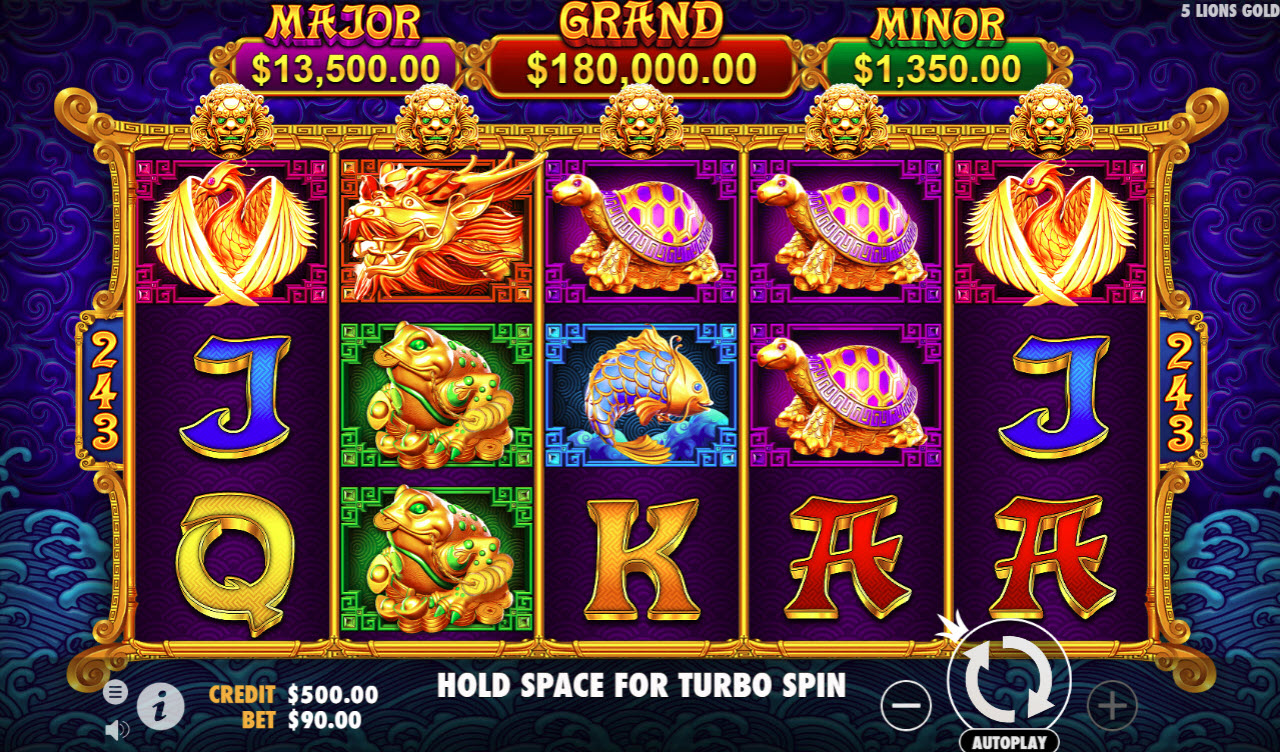 Play slots at Win Paradise: Win Paradise featuring the Video Slots 5 Lions Gold with a maximum payout of $180,000