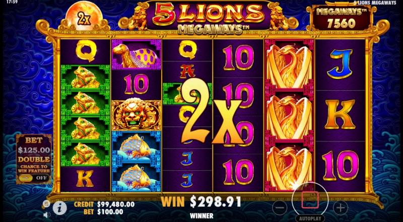 5 Lions Megaways :: 2X Wild Multiplier doubles the win