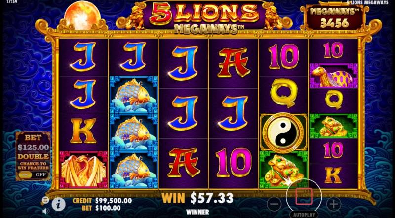 5 Lions Megaways :: Multiple winning combinations