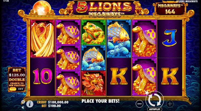 5 Lions Megaways :: Base Game Screen