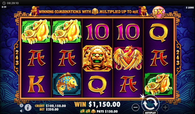 5 Lions :: Multiple winning paylines