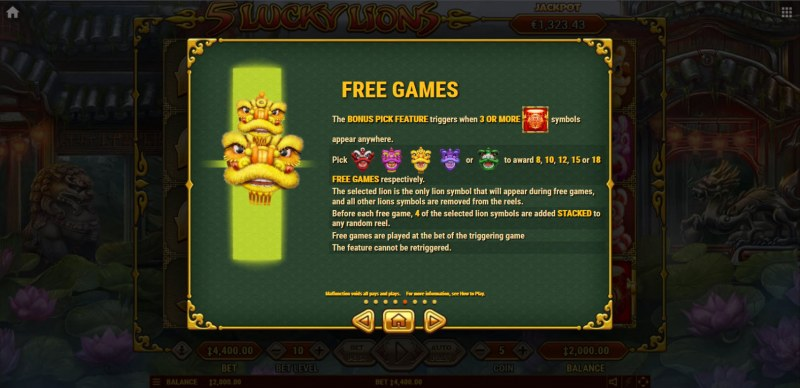 5 Lucky Lions :: Free Spin Feature Rules