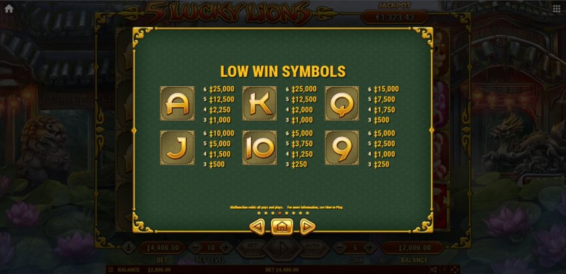5 Lucky Lions :: Paytable - Low Value Symbols