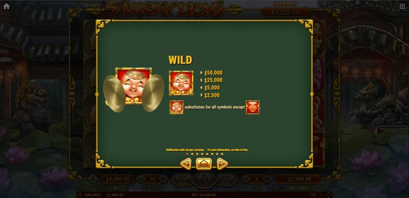 5 Lucky Lions :: Wild Symbol Rules