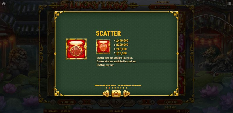 5 Lucky Lions :: Scatter Symbol Rules