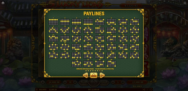 5 Lucky Lions :: Paylines 1-44
