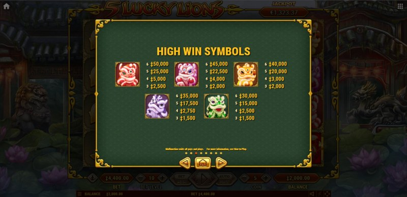 5 Lucky Lions :: Paytable - High Value Symbols