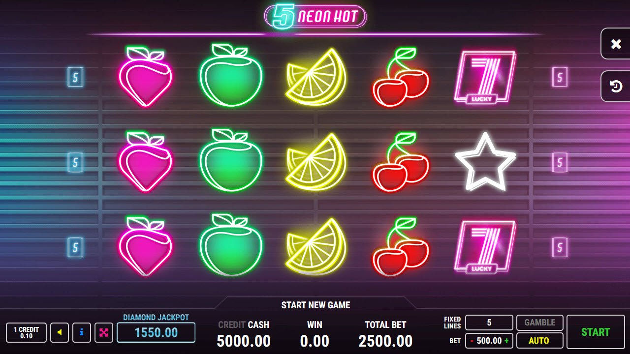 Play slots at 1X Slots: 1X Slots featuring the Video Slots Neon Hot 5 with a maximum payout of $2,500,000