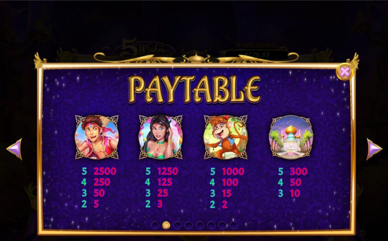 5 Wishes :: Paytable - High Value Symbols