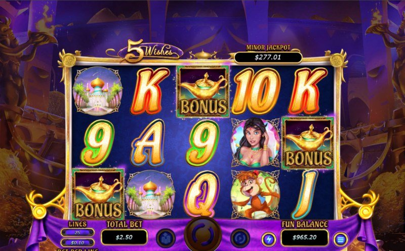 5 Wishes :: Scatter symbols triggers the free spins bonus feature