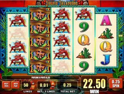 Play slots at Secret Slots: Secret Slots featuring the Video Slots Jumpin' Jalapenos with a maximum payout of $250,000