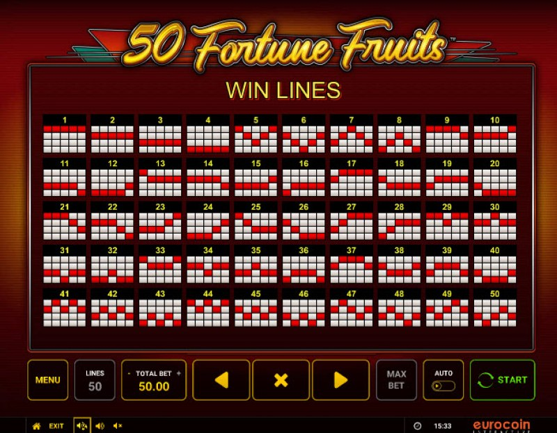 50 Fortune Fruits :: Paylines 1-50