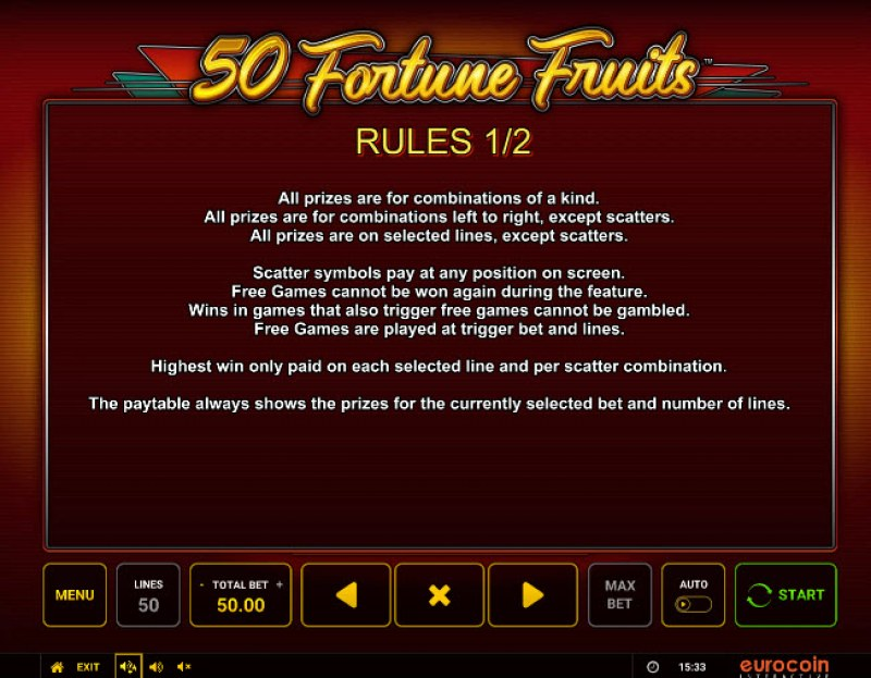 50 Fortune Fruits :: General Game Rules