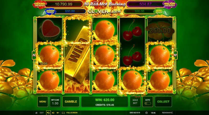 50 Red Hot Burning Clover Link :: Multiple winning paylines