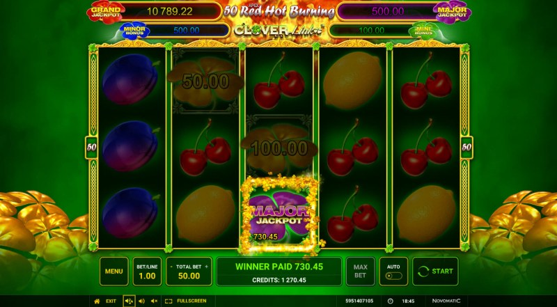 50 Red Hot Burning Clover Link :: Land a jackpot symbol during any spin and win big