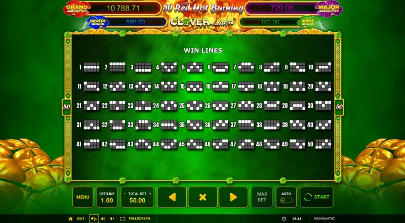 50 Red Hot Burning Clover Link :: Paylines 1-50