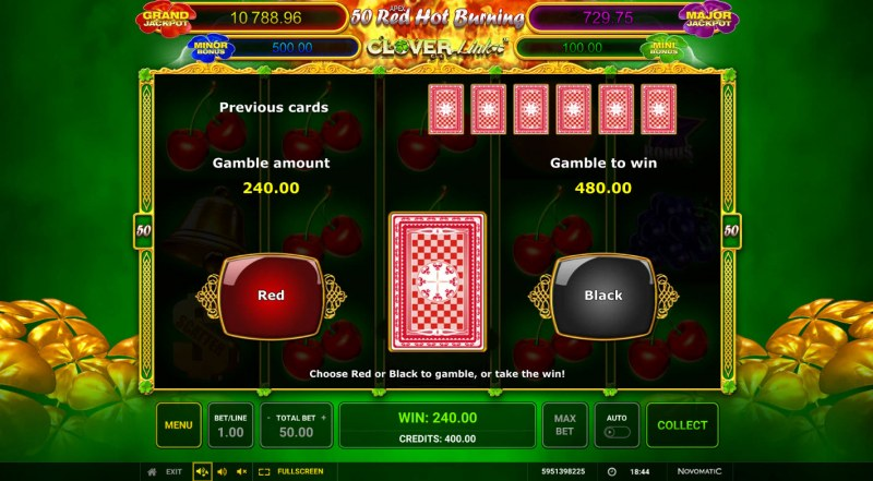 50 Red Hot Burning Clover Link :: Red or Black Gamble Feature