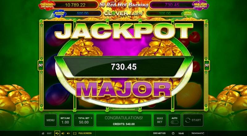 50 Red Hot Burning Clover Link :: Major jackpot awarded