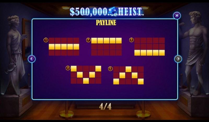 500K Heist :: Paylines 1-5
