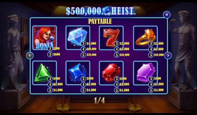 500K Heist :: Paytable