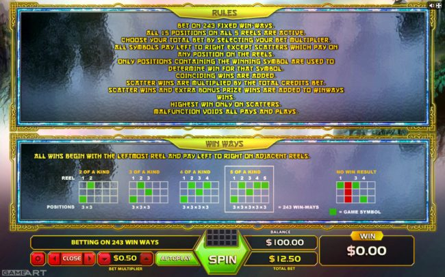 LaFiesta featuring the Video Slots 5 Elements with a maximum payout of $1,250