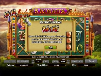 Enzo Casino featuring the Video Slots 5 Knights with a maximum payout of $6,000