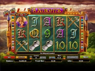 Party Casino featuring the Video Slots 5 Knights with a maximum payout of $6,000
