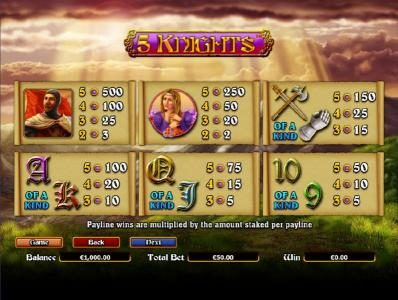 Conquer featuring the Video Slots 5 Knights with a maximum payout of $6,000