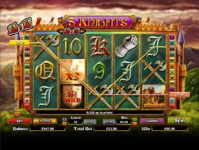 Astralbet featuring the Video Slots 5 Knights with a maximum payout of $6,000