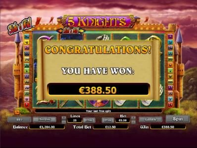 Vera&John featuring the Video Slots 5 Knights with a maximum payout of $6,000