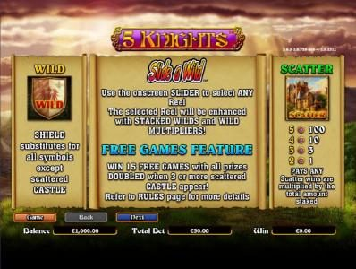 Play slots at All Irish: All Irish featuring the Video Slots 5 Knights with a maximum payout of $6,000