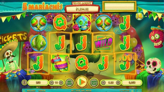 5 Mariachis :: Free Spins Game Board