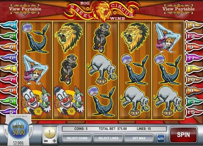 This Is Vegas featuring the video-Slots 5 Reel Circus with a maximum payout of $75,000
