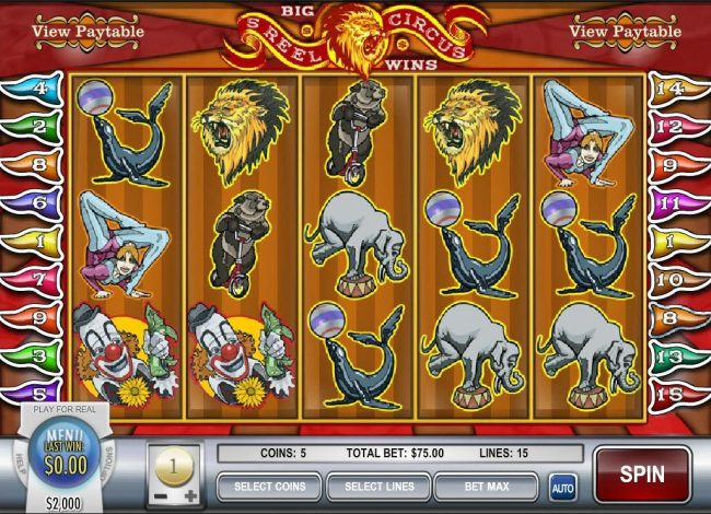 Play slots at CoCoa: CoCoa featuring the video-Slots 5 Reel Circus with a maximum payout of $75,000