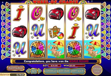 Liberty Slots featuring the Video Slots Wheel of Chance 5 Reel with a maximum payout of $80,000