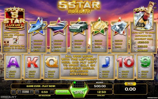 NordiCasino featuring the Video Slots 5 Star Luxury with a maximum payout of $6,250