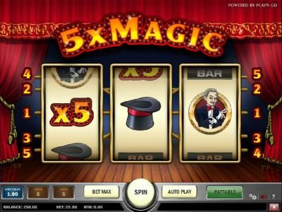 5x Magic :: main game board featuring 3 reels, five paylines and a 5000x max payout