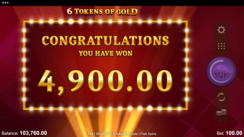 6 Tokens of Gold :: Total Free Spins Payout