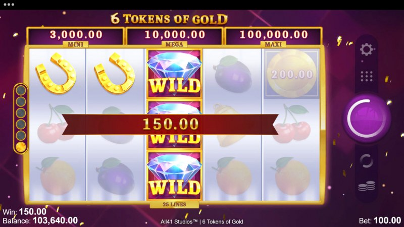 6 Tokens of Gold :: Stacked wild lead to multiple winning paylines