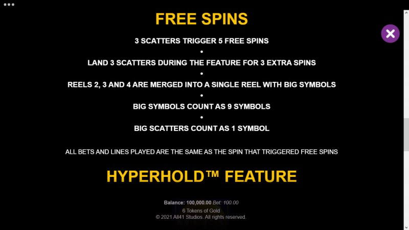 6 Tokens of Gold :: Free Spin Feature Rules