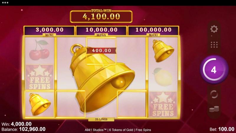 6 Tokens of Gold :: Mega symbol triggers multiple winning ways