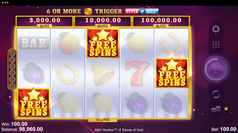 6 Tokens of Gold :: Scatter symbols triggers the free spins bonus feature