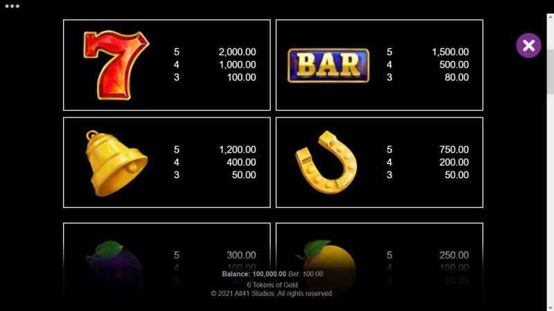 6 Tokens of Gold :: Paytable - High Value Symbols