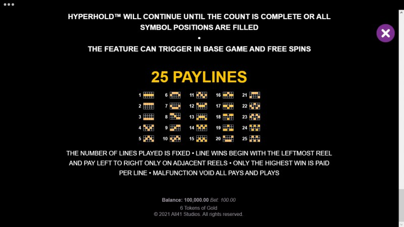 6 Tokens of Gold :: Paylines 1-25