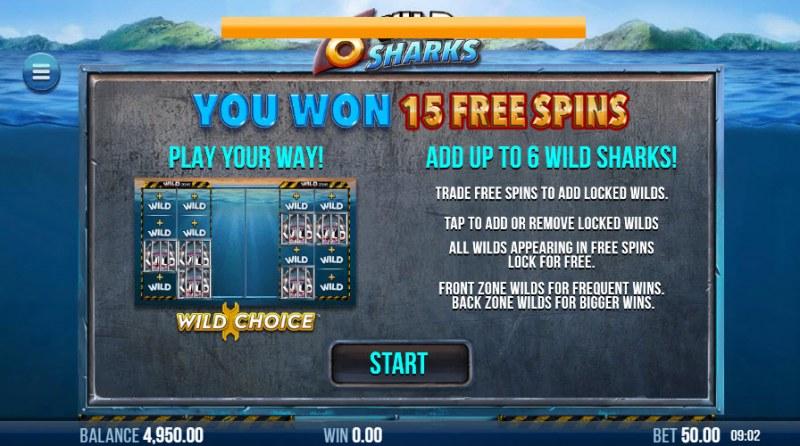 6 Wild Sharks :: 15 Free Games Awarded