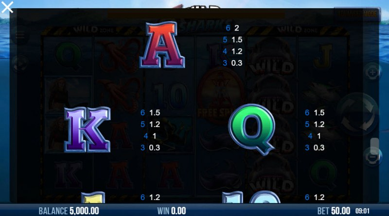 6 Wild Sharks :: Paytable - Low Value Symbols