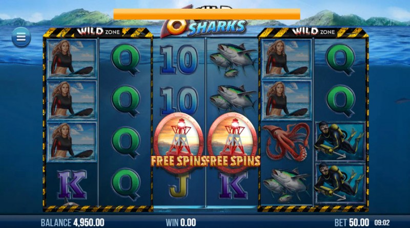 6 Wild Sharks :: Scatter symbols triggers the free spins feature