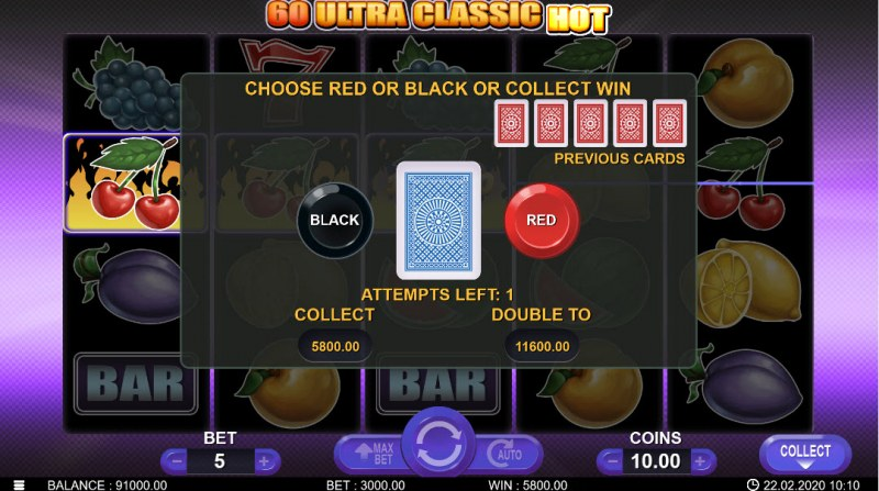 60 Ultra Classic Hot :: Black or Red Gamble Feature
