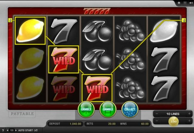 EU Casino featuring the Video Slots 77777 with a maximum payout of $10,000