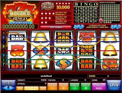 Play slots at Cobra: Cobra featuring the Video Slots 777 Double Bingo with a maximum payout of $50,000